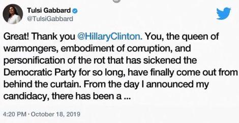 """""""Königin der Kriegstreiber"""" – Tulsi Gabbard antwortet auf Hillary ClintonsVorwürfe"""
